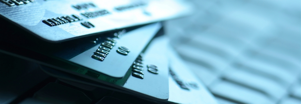 Close up of four credit cards