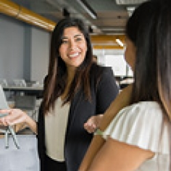 picture of two women talking