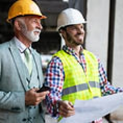 two men at a construction site